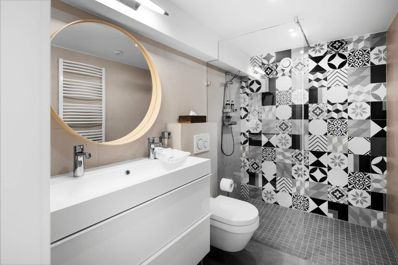 All of our bathrooms are covered with Moza handmade tiles